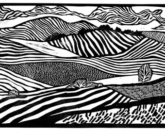 Original Linocut of Matterdale End, the Lake District