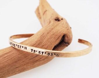 Longitude Latitude Bracelet, 8th Anniversary Gift, Hammered Bronze Cuff, GPS Coordinates, Bronze Bracelet