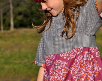 Flannel Tunic in Grey Houndstooth and Orchid - READY TO SHIP
