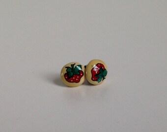 Vintage Strawberry Stud Earrings