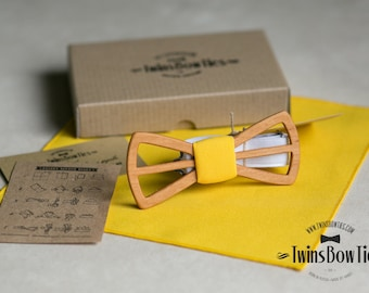 Wooden bow tie Fresh Vasily Classic + pocket square. Man wood bow tie. Men Accessories. 100% hand made. Best personal gift.