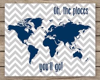 16x20 map PRINTABLE, Oh the places you'll go - navy grey nursery wall art,  childrens art, chevron decor, boys room decor