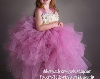 Rose Pink Flower Girl Tutu  Dress, Rose Pink Tutu Dress, Rose Tutu Dress, Vintage Flower Girl Tutu Dress, Dusty Rose Tier Tutu Dress, Pink