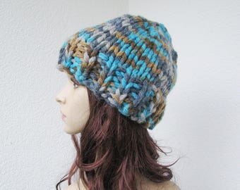 hand knitted super bulky teen hat, soft thick winter warm hat, turquoise, gray, beige