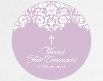 Purple Communion Stickers, First Communion Favor Labels, First Communion Stickers, First Holy Communion Favor Tags, Girl Communion, Printed