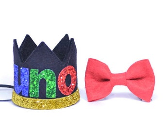 UNO Boy Birthday Crown And Bow Tie Set ||  1st Birthday Party Hat || First Birthday Crown|| Boy Birthday Outfit || Black Crown