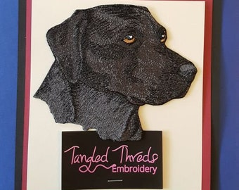 "Black Labrador Dog, Head Embroidered Patch 5.8"" x4.8"""