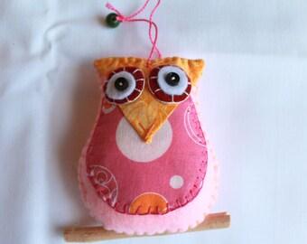 Plush Felt Owl Perched on a branch Hanging Ornament, felt ornament