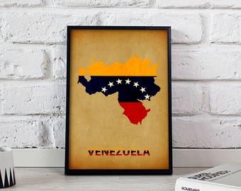 Venezuela poster Venezuela art Venezuela Map poster Venezuela print wall art Venezuela wall decor Gift poster