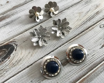 Lot of three silver tone vintage clip on earrings wear repurpose earring lot junk drawer lot retro earrings rhinestone jewelry lot