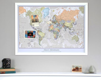 Classic Personalized World Map - push pin map, wall hanging, wall art, home decor, travel map, travel map, travel, holiday, personalized map