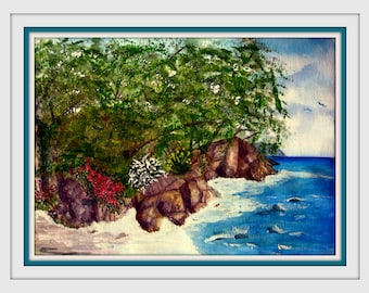 Watercolor Painting with White Gouache - Original - Tropical Beach Unframed