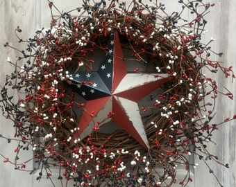 Patriotic Wreath with Red, White and Blue Pip Berries and Flag Barn Star,Americana Wreath,4th of July Wreath,Primitive Wreath,Rustic Wreath