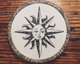 Sun embroidery hoop art