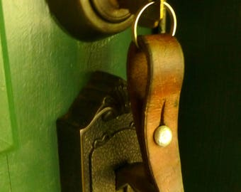Leather Keychain / Key Fob - Vintage Swiss Military Leather Key chain - Stocking Stuffer