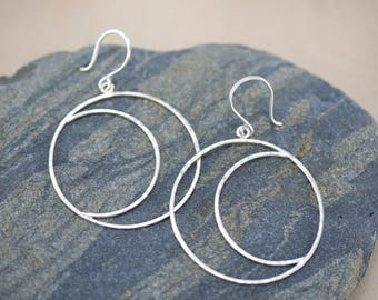 Sterling silver moon earrings, Large moon earrings, hammered silver,  Rachel Wilder Handmade Jewelry
