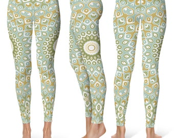 Printed Yoga Tights, Patterned Tights, Yoga Pants Green, Mandala Leggings, Mandala Pants, Nature Leggings, Printed Leggings