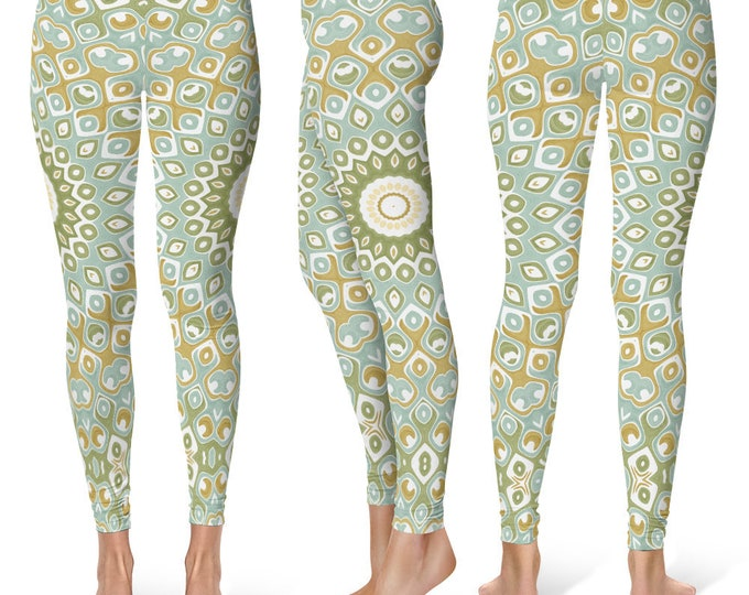 Pattern Leggings Yoga Pants, Printed Yoga Tights for Women, Nature Inspired Mandala Design