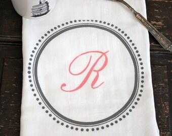 1- Monogrammed Kitchen Towel, Flour Sack Towel, Custom Tea Towel,  Monogrammed Towel,  Kitchen Dish Cloth,Modern Vintage Market