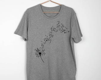 MUSIC NOTES Classic TUNES Gray Limited Edition T-shirt Musician Guitar Reef Piano Violin T Shirt Gift For Guitar Player Tshirt Tee