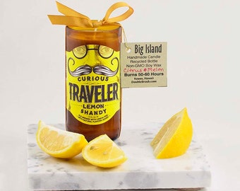 OOAK Man Cave Decor Mustache Candle Curious Traveler Lemon Shandy Recycled Beer Bottle Candle Home and Living Hip Modern Decor Soy Candle