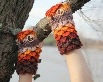 NEW CROCHET PATTERN: Crocodile Stitch Owl Gloves