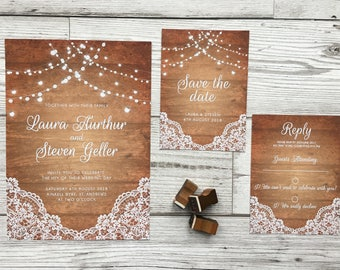 Rustic wedding stationery - wedding invitations - lace invitations