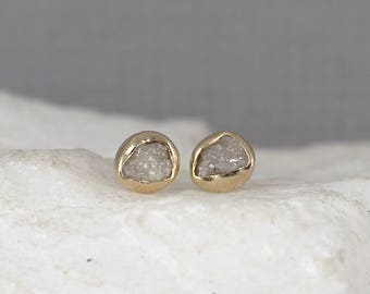 Raw Diamond Earrings - 14K Yellow Bezel Style - Rough Diamond Earring - Uncut, Conflict Free Diamonds - April Birthstone