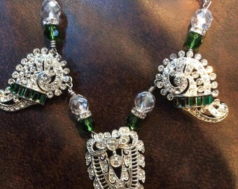 Stunning Green and Clear Dress Clip Necklace