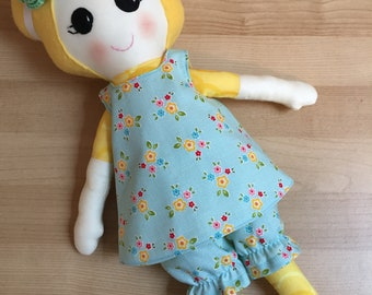 Blonde Fabric Doll, Fabric Doll, Rag Doll, Handmade Doll, Soft Doll, Doll with removable clothes,