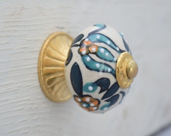 Hand-painted Gold Drawer Knobs with Teal, Drawer Pull, Cabinet Pull, Cabinet Knobs
