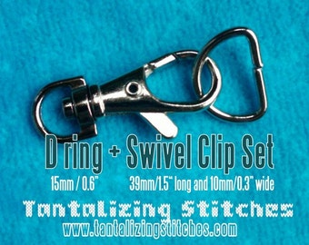 39mm / 1.5 Inch Swivel Clips with Matching D Ring in Nickel Finish - Choose from 240, 600, and 1500 sets