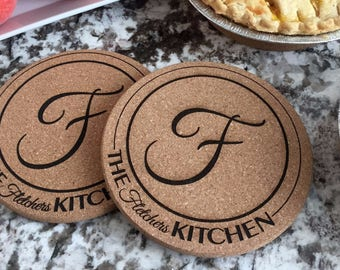 Personalized Kitchen Hot Pads - Set of 2