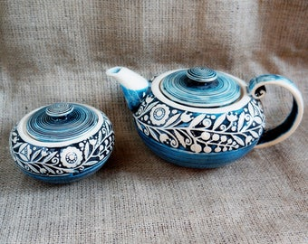 Ceramic tea set Blue teapot set Ceramics handmade sugar bowl Clay sugar bowl Ceramic sugar box Gift hostess Presents for mum Wife gift