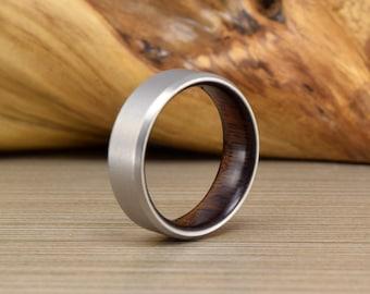 Men's Titanium Wedding Band, Titanium and Asian Ebony, Wood, Wedding Ring, Men's Wedding Ring, Women's Ring, Men's Ring, Wedding Band
