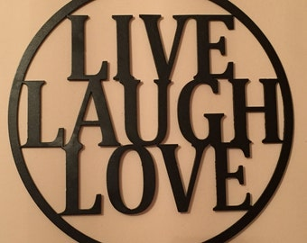 """Word Sign """"Live Laugh Love"""" Steel Wall Hanging"""