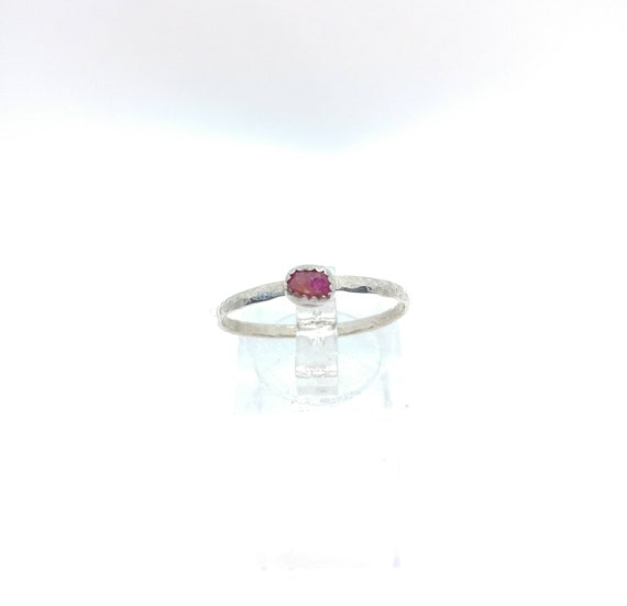 Ruby Stack Ring | Sterling Silver Ring Sz 9.5 | Raw Ruby Ring | Raw Stone Ring | Gemstone Ring | July Birthstone Ring| Ruby Stacking Ring