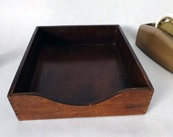 Vintage Wood Letter Tray, Retro File Box, Antique Desk Accessory, Paper Storage Tray, Mail Organizer