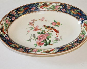 Vintage Antique W H Grindley Braintree Bird of Paradise Royal Blue Large Serving Platter
