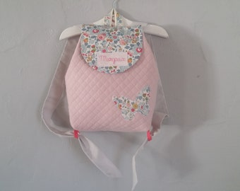 Backpack child crib / nursery personalized embroidered name quilted pink powder and Liberty Betsy porcelain baby girl to order