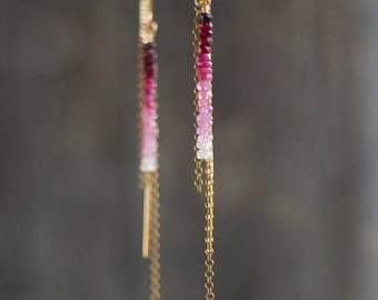 Ruby Earrings, July Birthstone, Ombre Ruby Ear Threaders, Linear Earrings, Ruby Jewellery, Wife Gift, Ombre Ruby Earrings Gold or Silver
