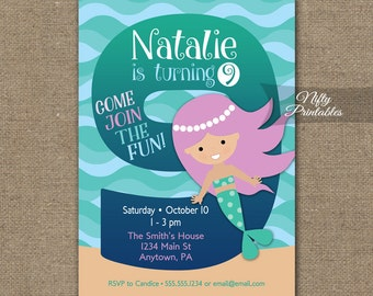Mermaid Birthday Invitation - 9th Birthday Invitations - Girls 9th Birthday Party Invites - Printable 9 Year Old Mermaid Invitation MER1