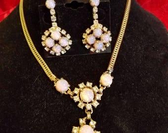 faux opal and rhinestone set 1940's  earrings screw back style