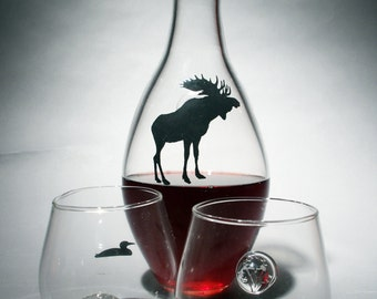 Hand Blown Moose Decanters
