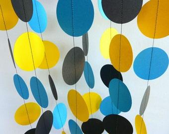 Boy's Birthday Garland, Yellow, Blue, Black Birthday Party, Paper Circle Garland, 10 ft. long