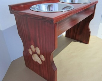 Paw Print Carved Leg Elevated Food Dish Holder - Medium 64oz Bowls