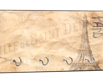 """Vintage Style Parisian Themed Eiffel Tower in Paris, France Design - 5"""" by 11"""" Key Hanger Household Decoration with Four Hooks"""