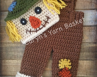 Baby Scarecrow Fall Halloween Crochet Costume, Boy/Girl Photo Prop, Baby Shower Gift, Newborn, 0-3 M, Photography Prop - MADE TO ORDER
