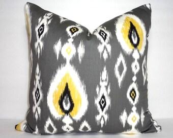 Yellow Black Grey Ikat Print Pillow Cover Decorative Ikat Design Pillow Cover Size 18x18