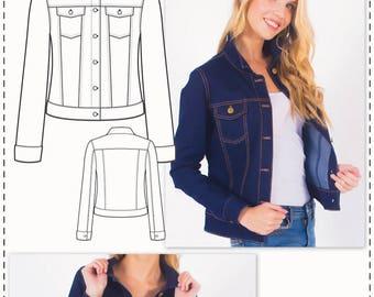 Denim Jacket Pattern - Sewing Patterns - Jean Jacket Pattern - PDF sewing pattern - Fashion Pattern - Sewing Tutorial - Patterns for Women